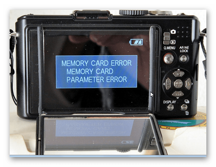 Вид ошибки на фотоаппарате