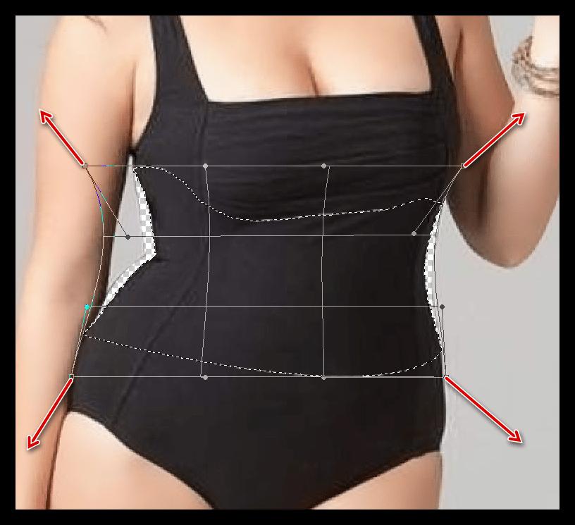 Восстановление участков изображения при помощи функции Деформация для уменьшения талии в Фотошопе