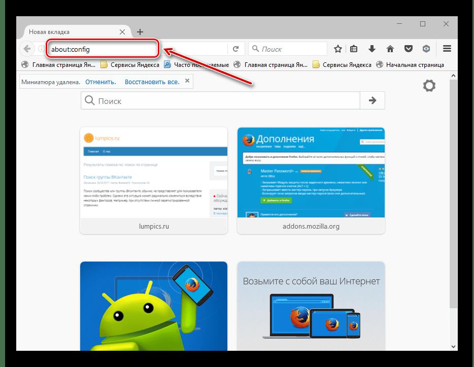 Ввод в адресную строку Mozilla Firefox