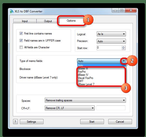 Выбор типа файла DBF в XLS to DBF Converter