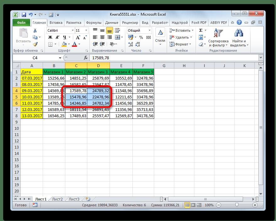 Выделение группы ячеек в Microsoft Excel