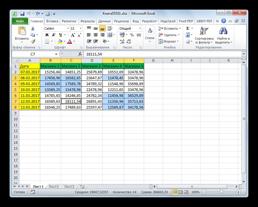 Выделение разрозненных элементов в Microsoft Excel