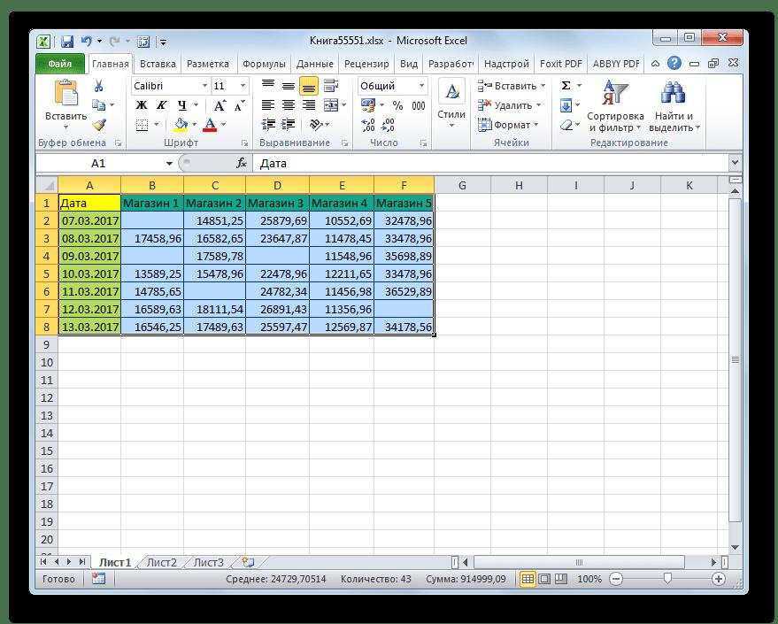 Выделение таблицы для удаления пустых ячеек в Microsoft Excel