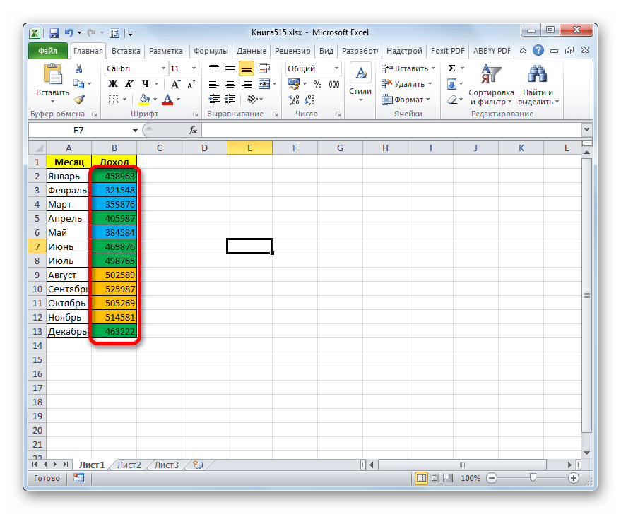 Ячейки окрашены согласно заданным условиям в Microsoft Excel