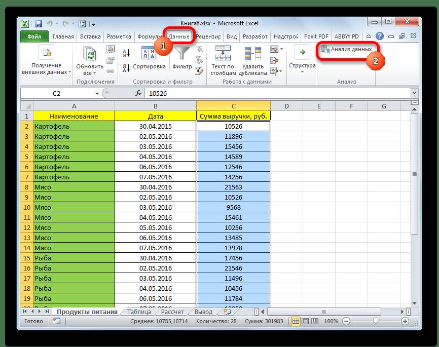 Запуск инструмента Анализ данных в Microsoft Excel