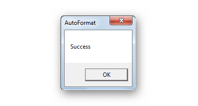Завершение форматирования в AutoFormat Tool