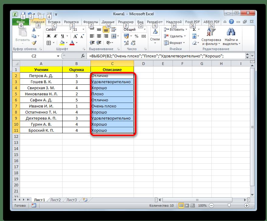 Значение всех оценок при помощи оператора ВЫБОР выведено в программе Microsoft Excel