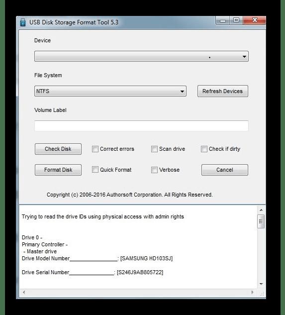 интерфейс HP USB Disk Storage Format Tool
