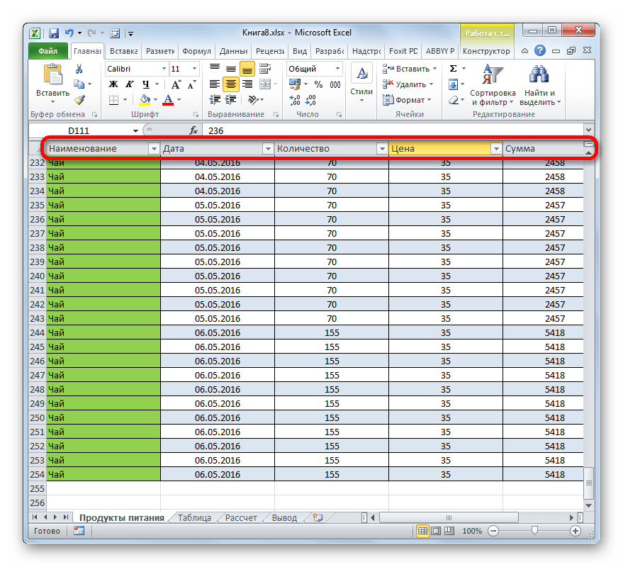 наименования столбцов в Microsoft Excel