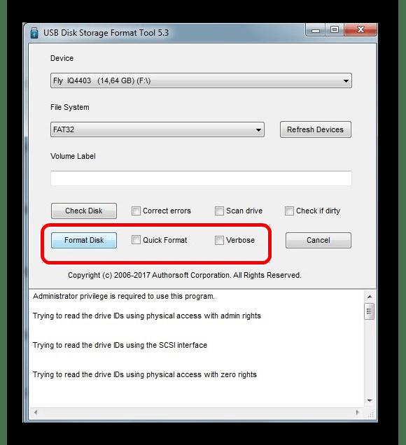 опции HP USB Disk Storage Format Tool