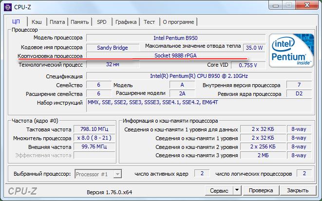 Сокет в CPU-Z
