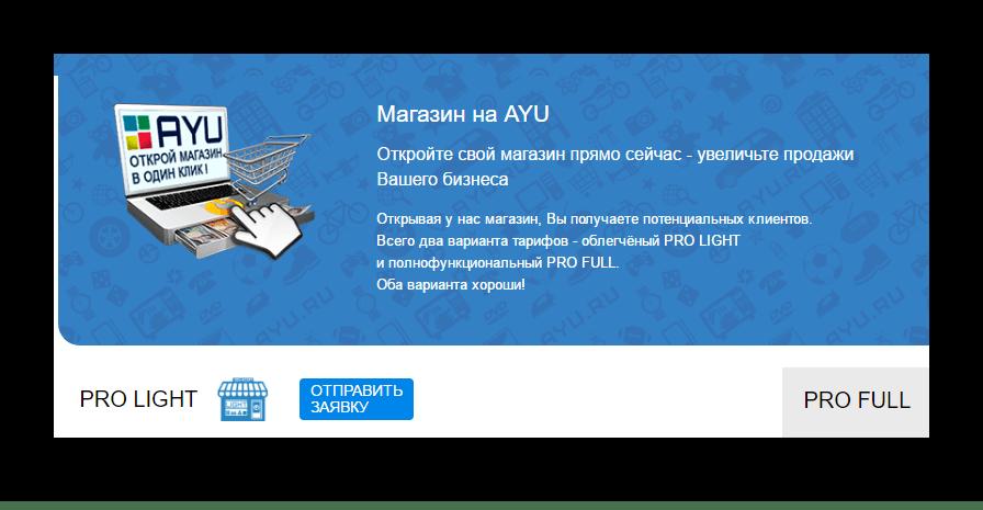 создание интернет-магазина на сайте Аю.ру