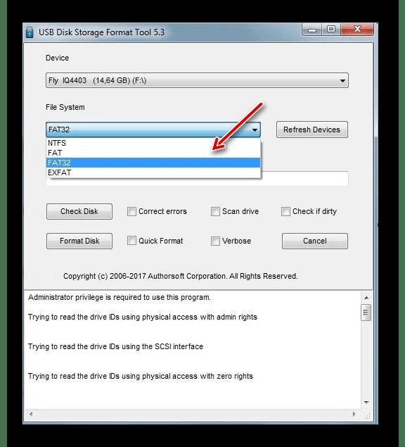 выбор файловой системы HP USB Disk Storage Format Tool
