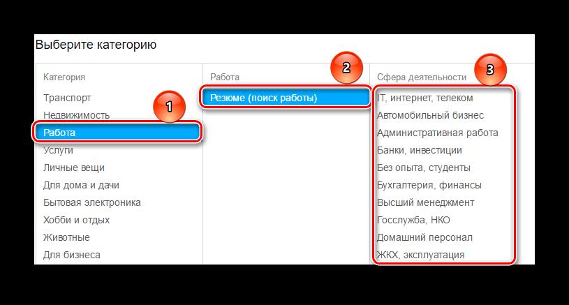 выбор категории резюме на Авито