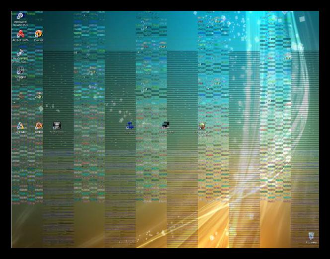 Артефакты на экране монитора при неисправном графическом процессоре