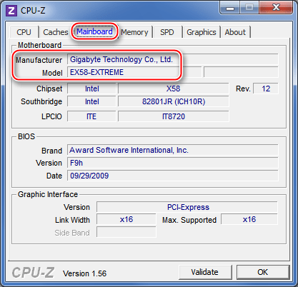 CPU-Z системная плата