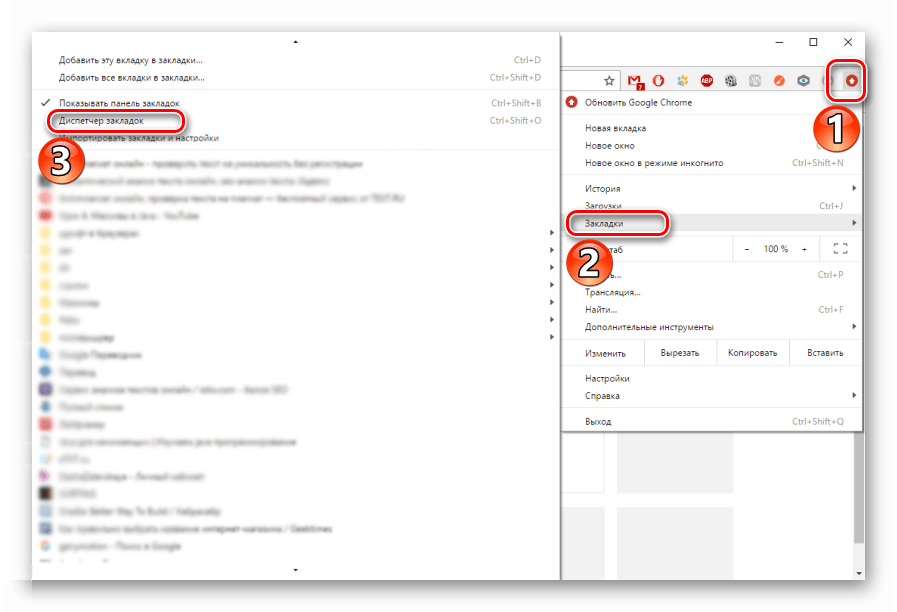 Диспетчер закладок в Google Chrome