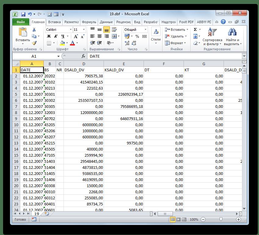Документ DBF открыт в Microsoft Excel