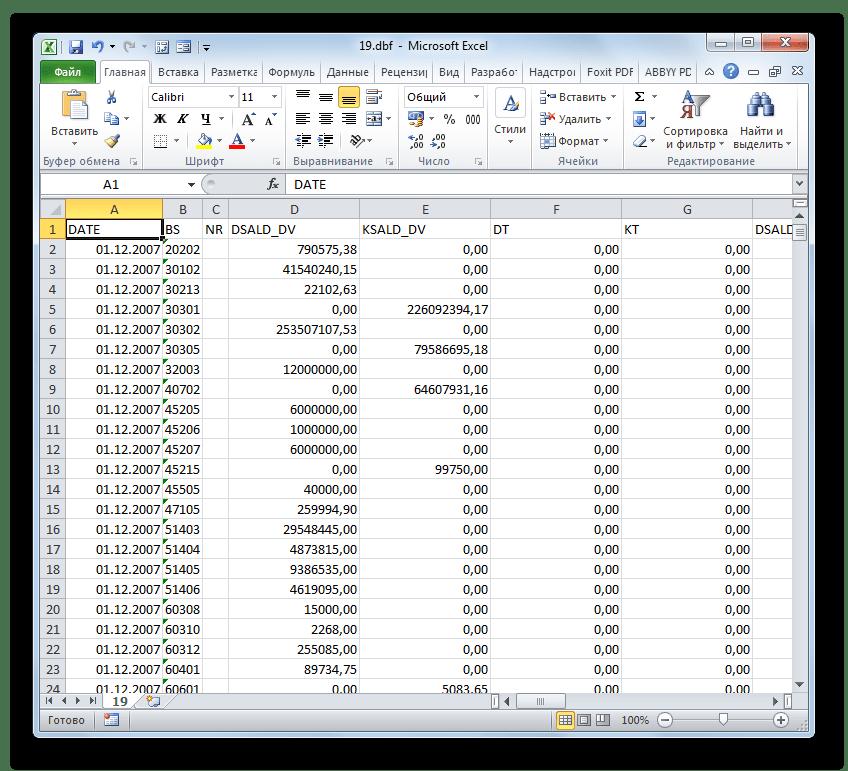 Документ DBF открыт в программе Microsoft Excel
