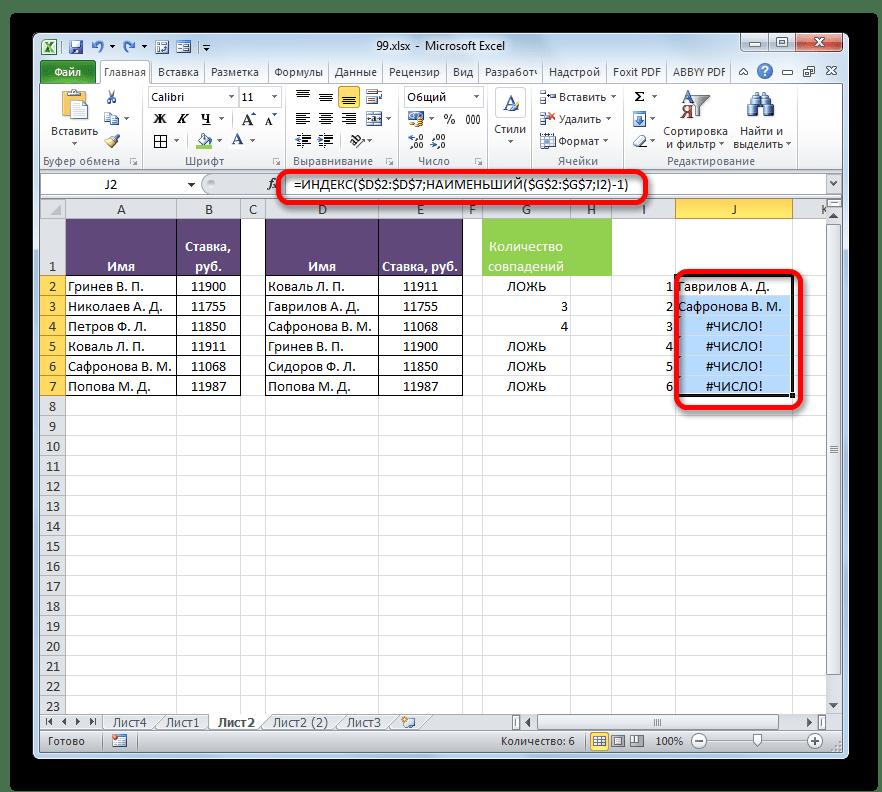 Фамилии выведены с помощью функции ИНДЕКС в Microsoft Excel