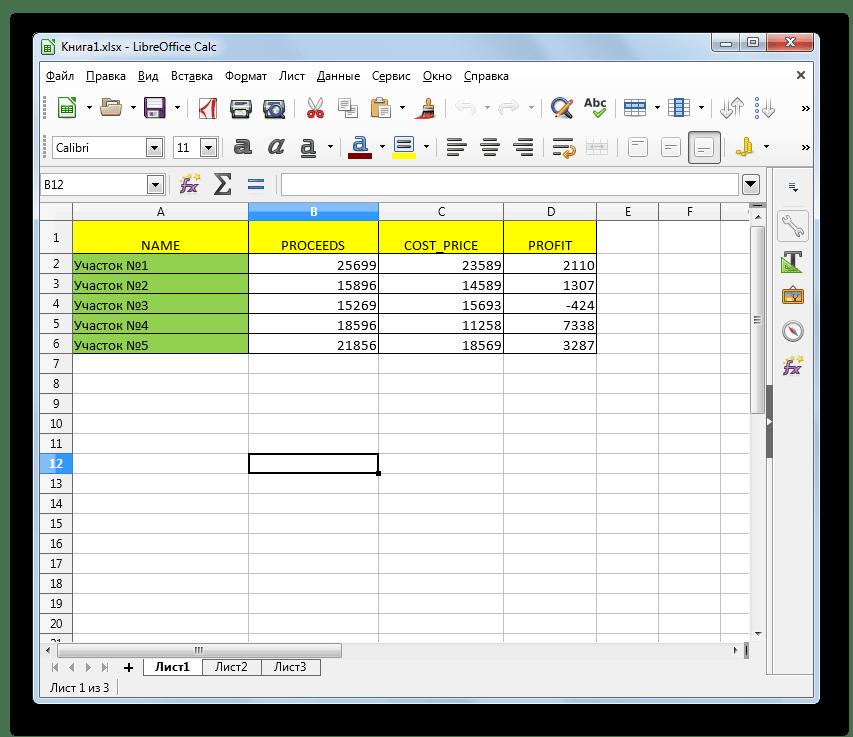 Файл с расширением XLSX открыт в LibreOffice Calc