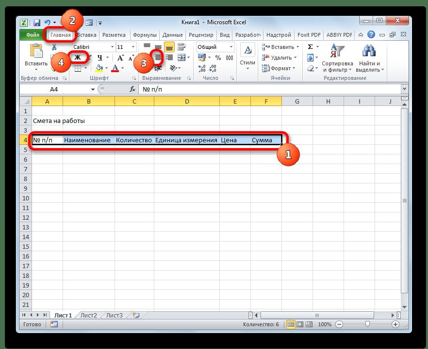 Форматирование наименований столбцов в Microsoft Excel
