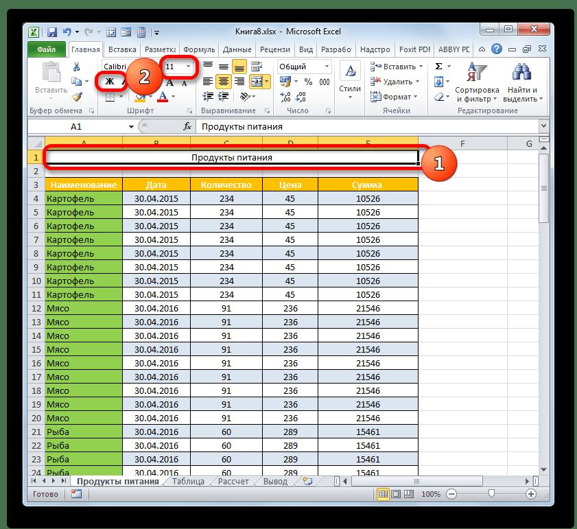 Форматирование наименования в Microsoft Excel