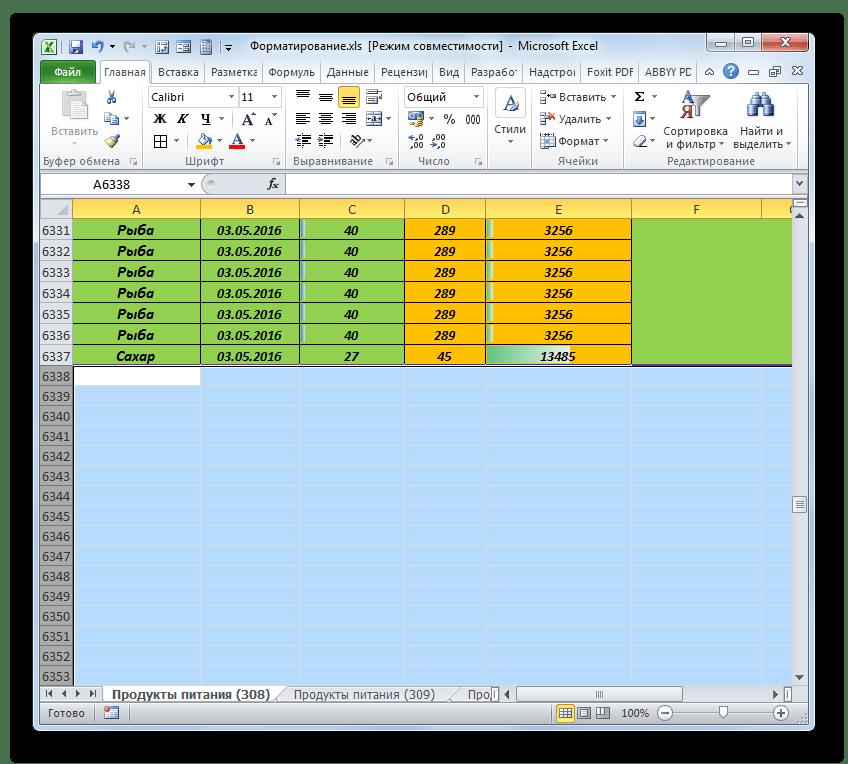 Форматы очищены в Microsoft Excel