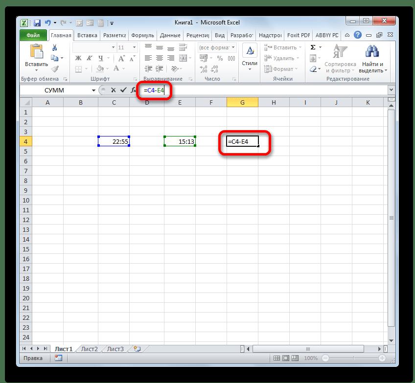 Формула вычисления времени в Microsoft Excel