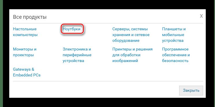 Группа Ноутбуки в списке продукции Dell