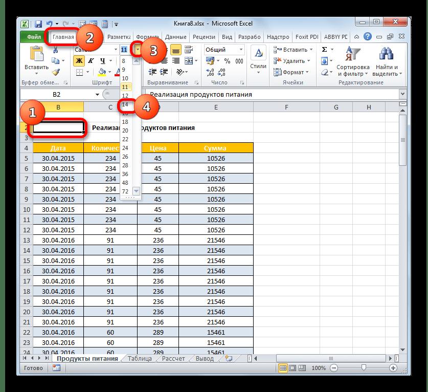 Изменение размера шрифта в Microsoft Excel