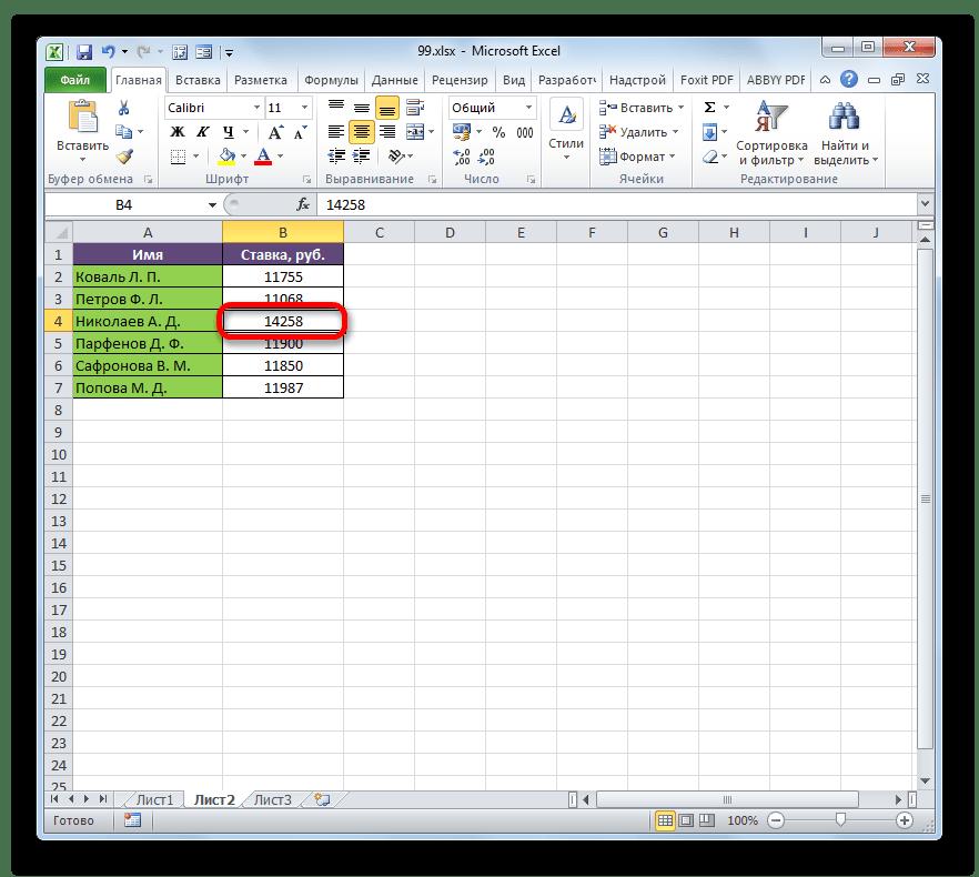 Изменение ставки работника в Microsoft Excel