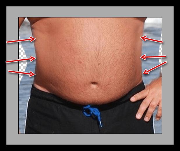 Коррекция боковых участков тела инструментом Деформация плагина Пластика для уменьшения живота в Фотошопе