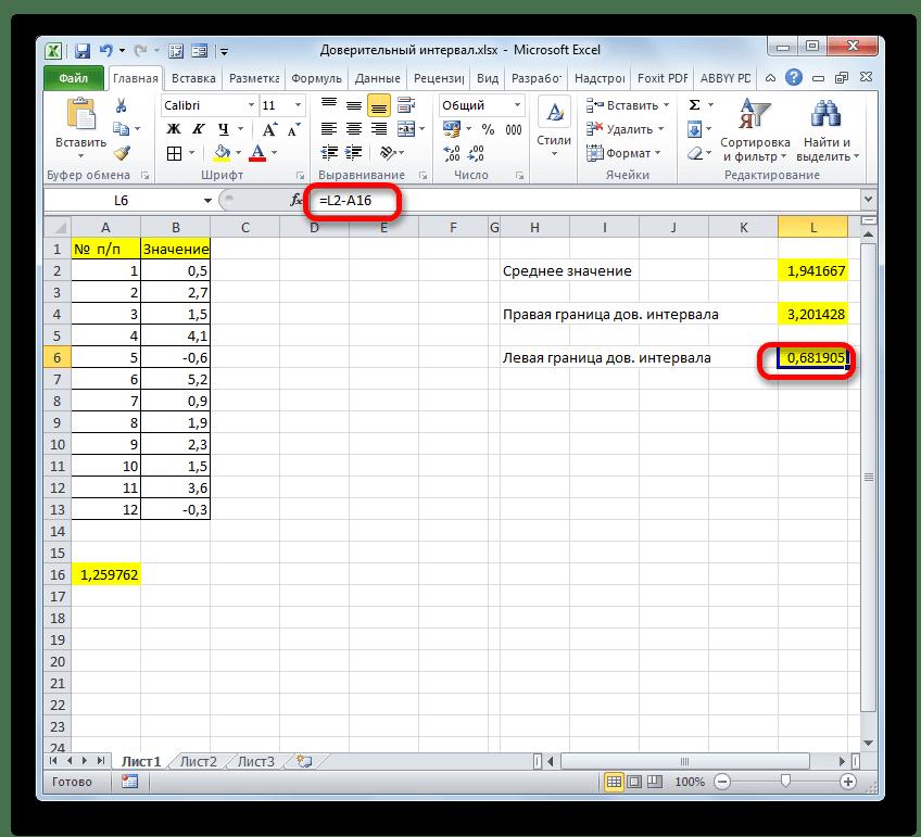 Левая граница доверительного интервала в программе Microsoft Excel