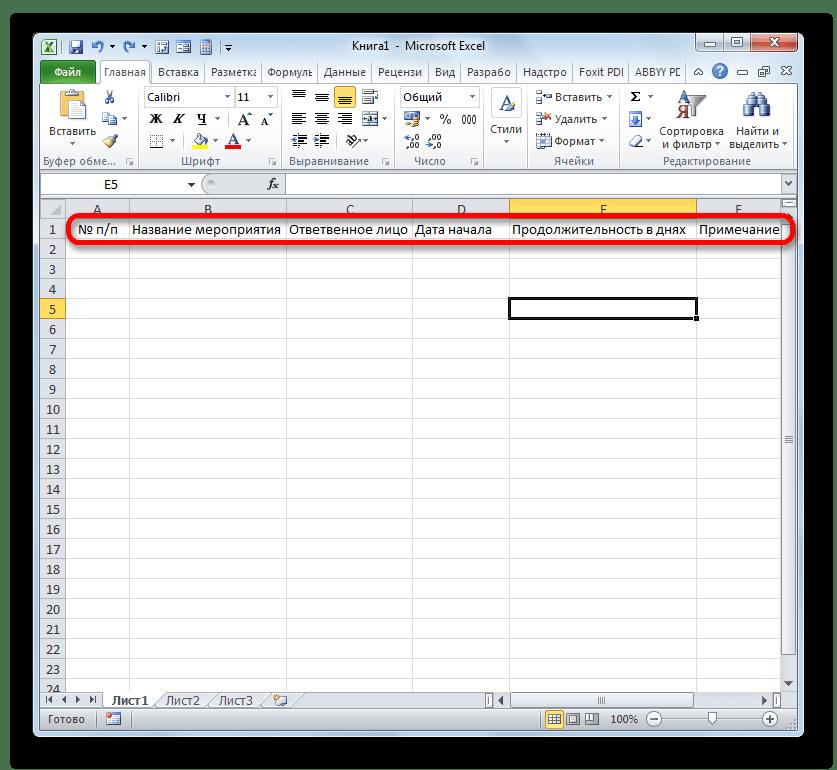 Наименования колонок в шапке таблицы в Microsoft Excel