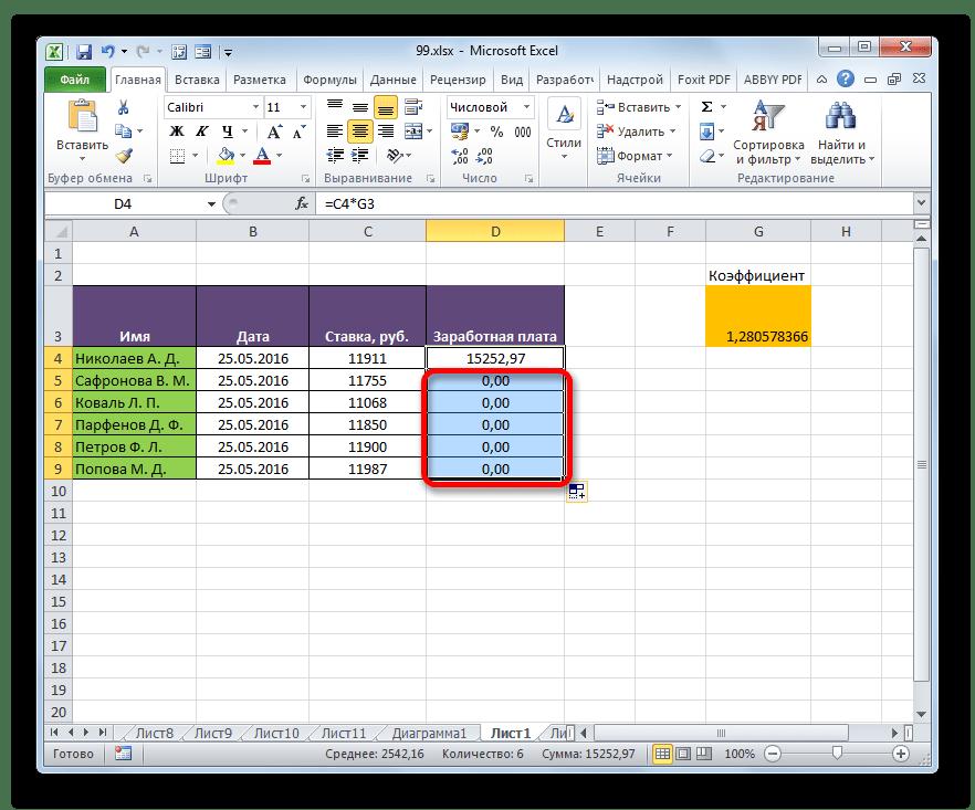 Нули при расчете заработной платы в Microsoft Excel