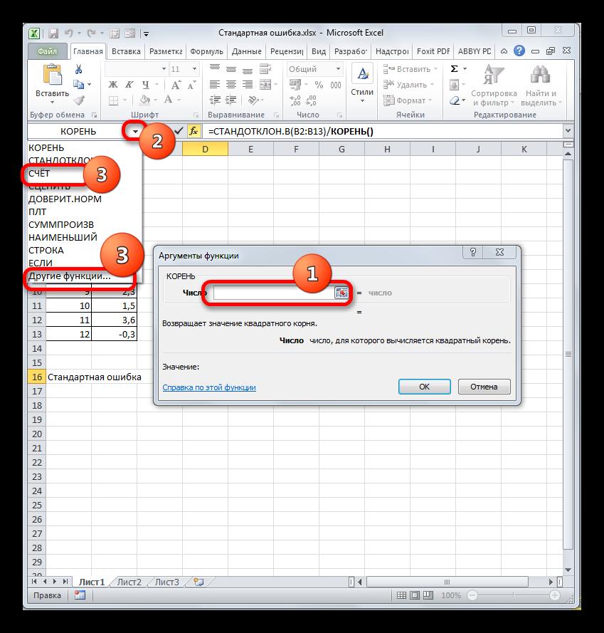 Окно аргументов функции КОРЕНЬ в Microsoft Excel