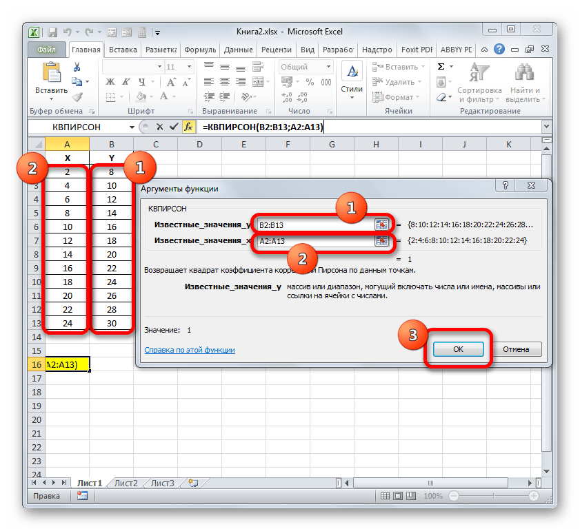 Окно аргументов функции КВПИРСОН в Microsoft Excel