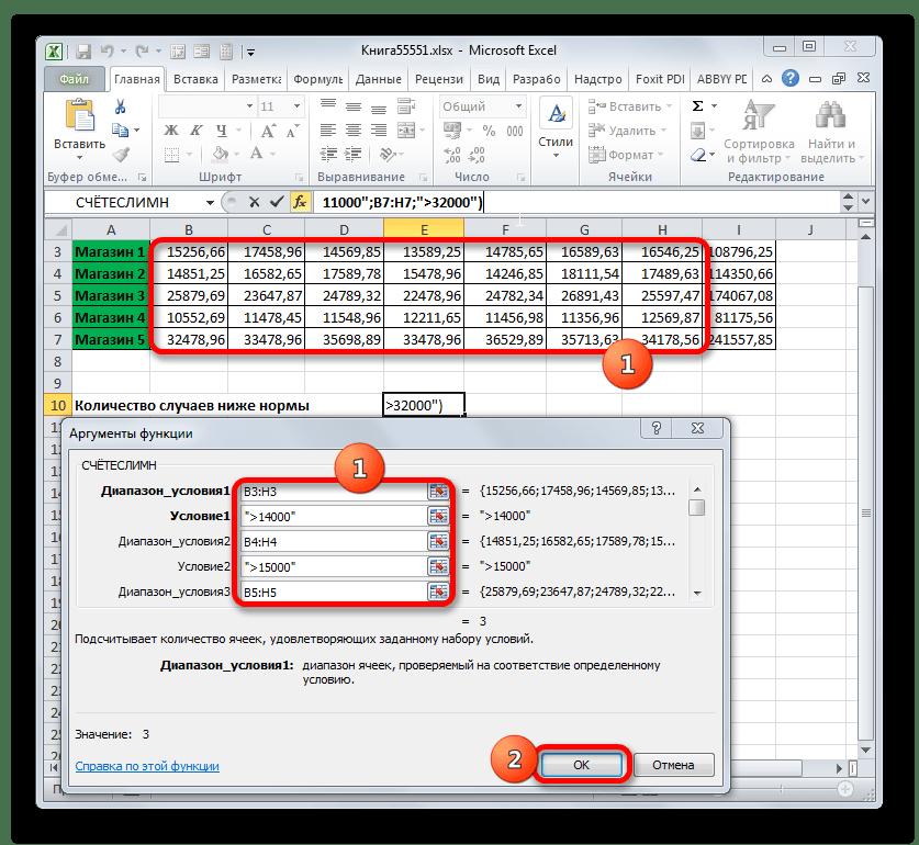 Окно аргументов функции СЧЁТЕСЛИМН в Microsoft Excel