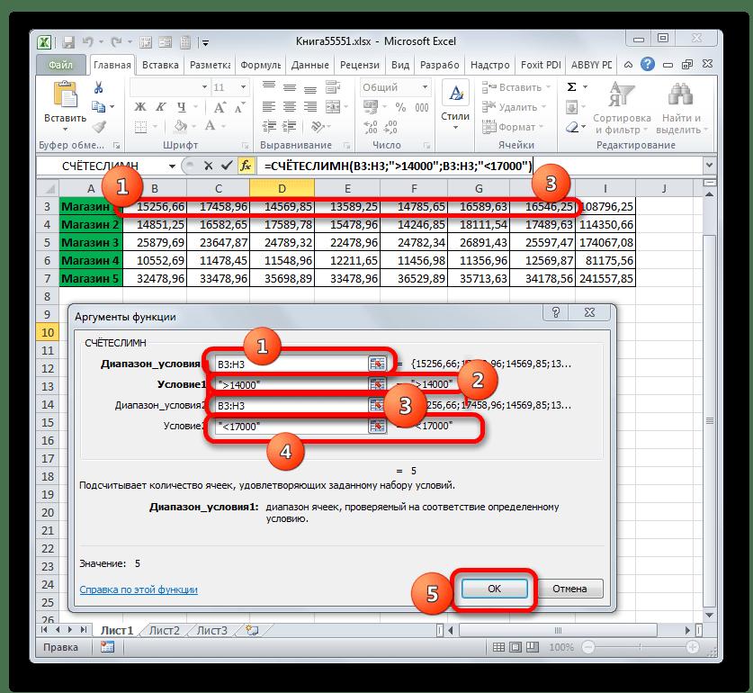 Окно аргументов функции СЧЁТЕСЛИМН в программе Microsoft Excel