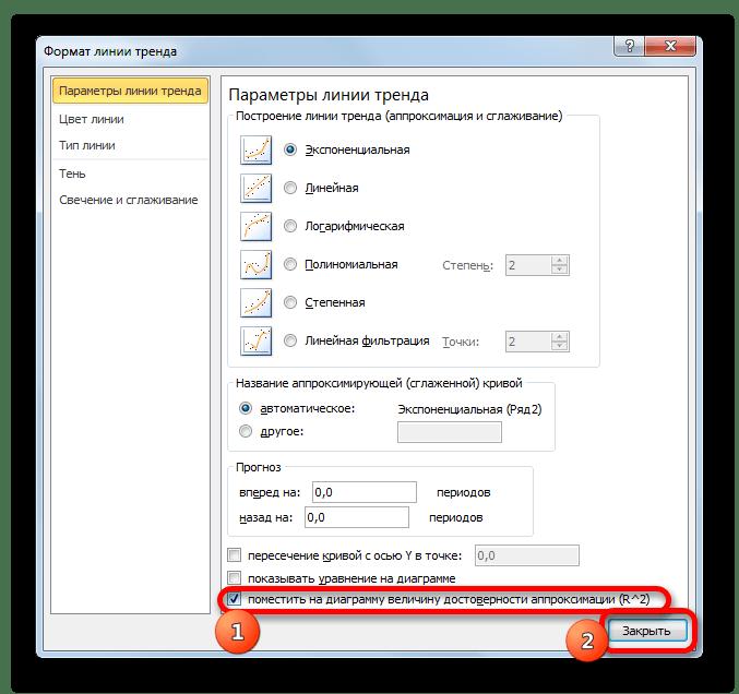 Окно формата линии тренда в Microsoft Excel