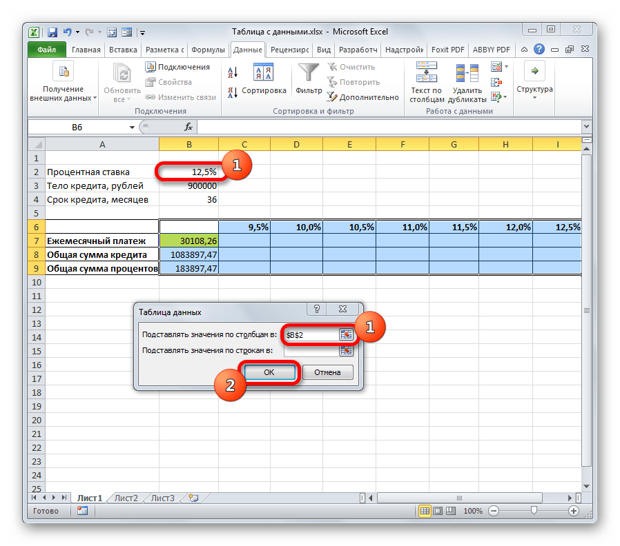 Окно инструмента Таблица данных в Microsoft Excel