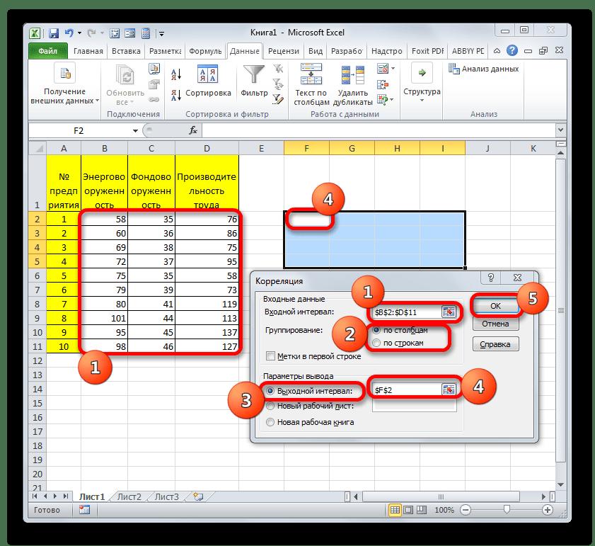 Окно корреляция в Microsoft Excel