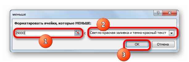 Окно настроек условного фрматирования в Microsoft Excel