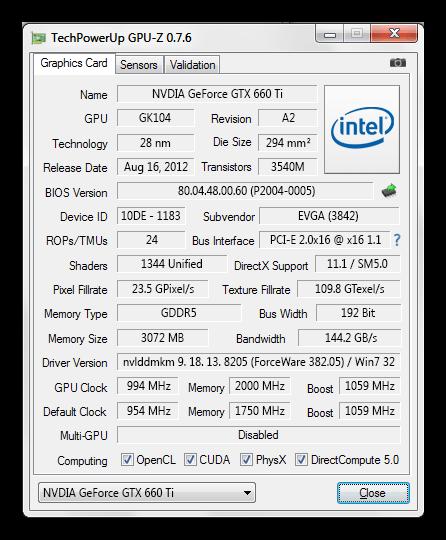 Определение какая видеокарта установлена на компьютере в программе TechPowerUp GPU-Z