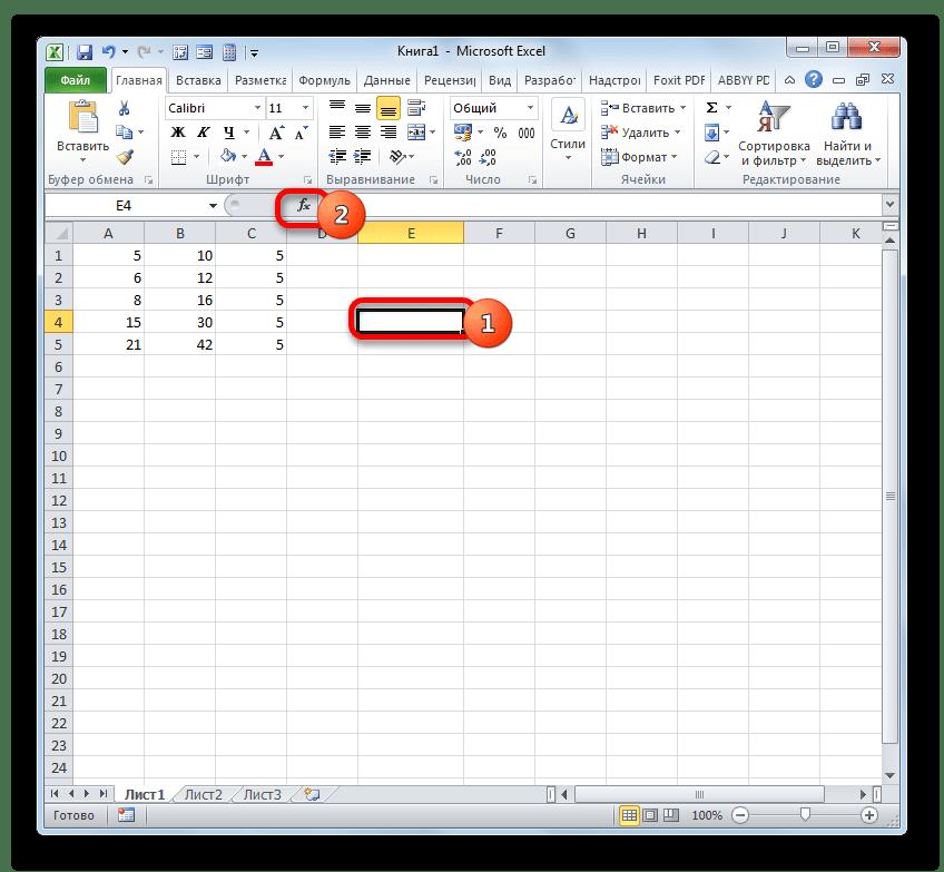 Переход в Мастер функций в программе Microsoft Excel