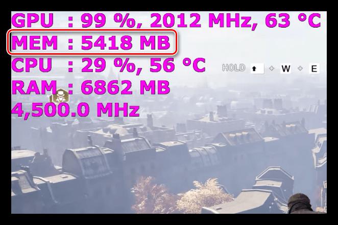 Потребление видеопамяти игрой Assasins Creed Syndicate в разрешении 2.5K 2560х1440
