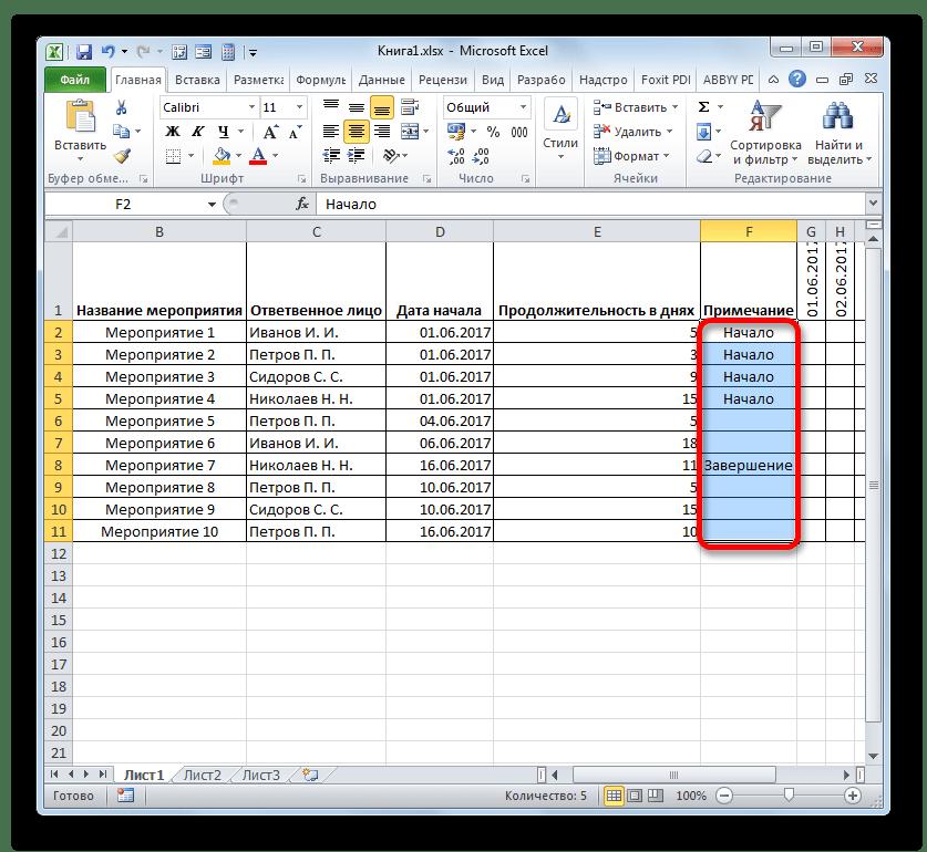 Примечание в таблице в Microsoft Excel