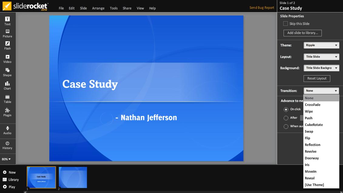 Пример работы в SlideRocket