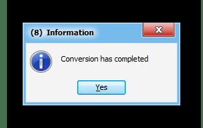 Процедура конвертации завершена в программе Abex HTML to Excel Converter